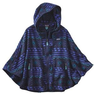 Patagonia Synchilla purple black hooded poncho XS